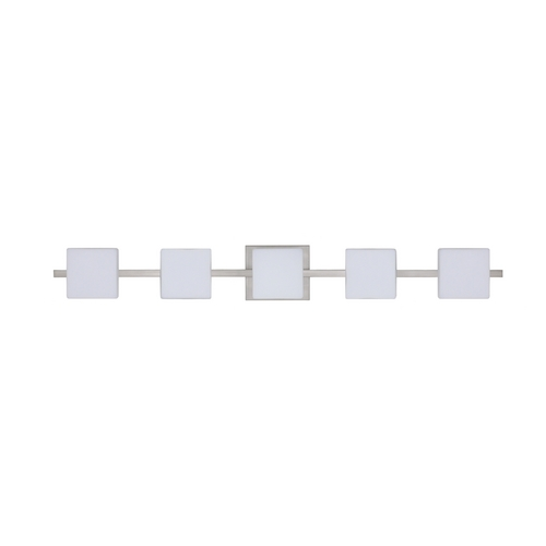 Besa Lighting Modern Bathroom Light with White Glass in Satin Nickel Finish 5WS-773507-SN