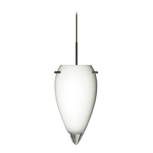 Besa Lighting Modern Pendant Light with White Glass in Bronze Finish 1JT-412506-BR