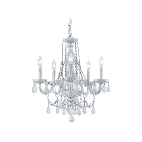 Crystorama Lighting Crystal Mini-Chandelier in Wet White Finish 1076-WW-WH-MWP