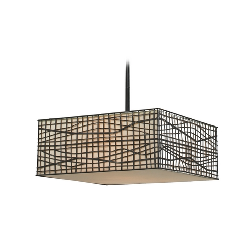 Kenroy Home Lighting Modern Pendant Light with White Shades in Bronze Finish 91584BRZ