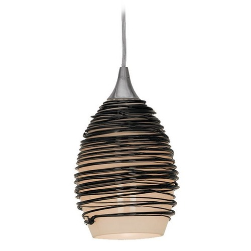 Access Lighting Adele Black Glass Mini-Pendant with LED Bulb 23733-BLK  10W LED