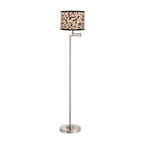 Design Classics Lighting Swing Arm Floor Lamp with Filigree Drum Lamp Shade 1901-09 SH9515