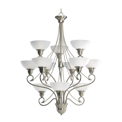 Progress Lighting Progress Chandelier with White Glass in Brushed Nickel Finish P4604-09
