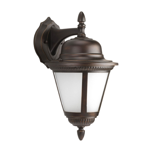Progress Lighting Outdoor Wall Light with White Glass in Antique Bronze Finish P5863-20WB