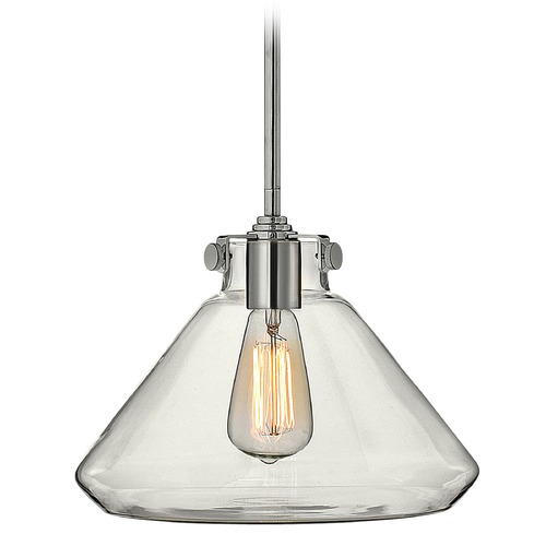 Hinkley Lighting Pendant Light with Clear Glass in Chrome Finish 3137CM