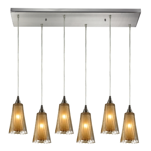Elk Lighting Modern Multi-Light Pendant Light with Brown Glass and 6-Lights 31148/6RC