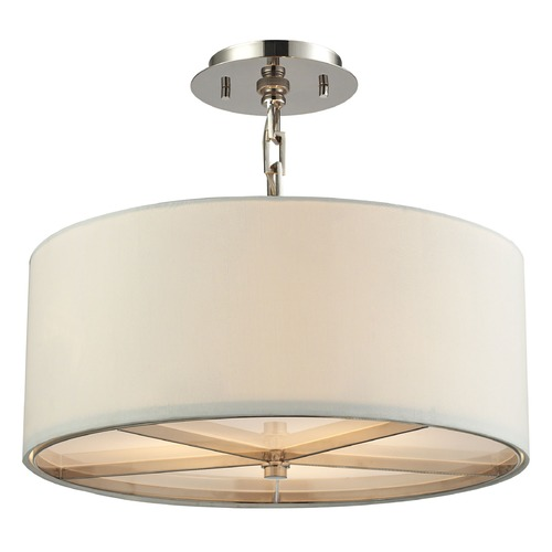 Elk Lighting Elk Lighting Selma Polished Nickel Pendant Light with Drum Shade 31650/3