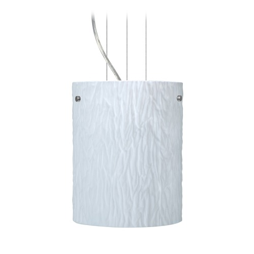 Besa Lighting Besa Lighting Tamburo Satin Nickel Mini-Pendant Light with Cylindrical Shade 1KG-4006OS-SN