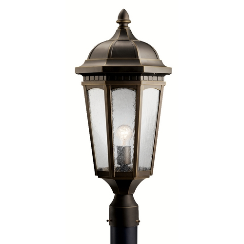 Kichler Lighting Kichler Post Light with Brown Glass in Rubbed Bronze Finish 9532RZ