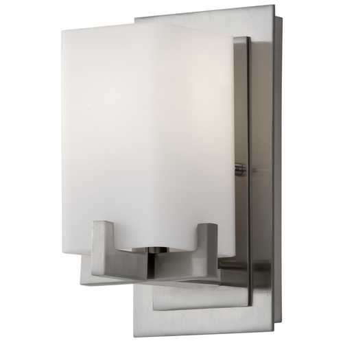 Feiss Lighting Modern Sconce with White Glass in Brushed Steel Finish VS18401-BS