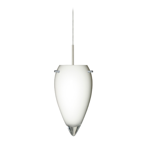 Besa Lighting Modern Pendant Light White Glass Satin Nickel by Besa Lighting 1JT-412506-SN