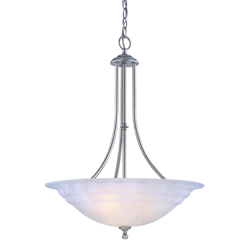 Dolan Designs Lighting Modern Pendant Light with Alabaster Glass in Satin Nickel Finish 669-09