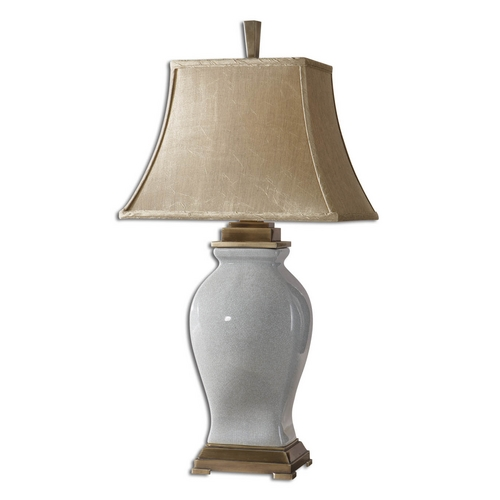 Uttermost Lighting Table Lamp with Beige / Cream Shade in Crackled Sky Blue Finish 26736