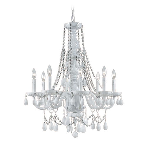 Crystorama Lighting Crystal Chandelier in Wet White Finish 1078-WW-WH-MWP