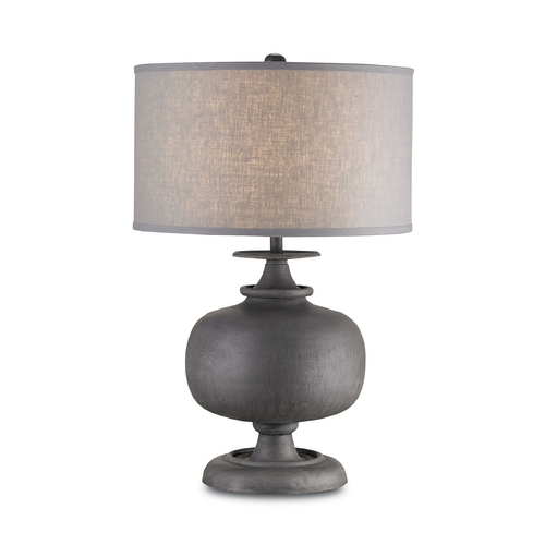 Currey and Company Lighting Table Lamp with Grey Shade in Antique Gray Finish 6884