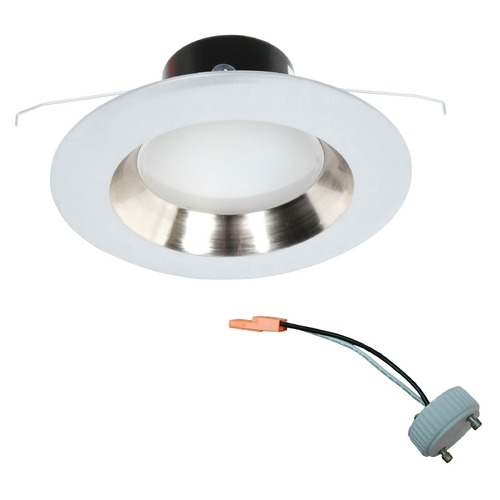 Recesso Lighting by Dolan Designs GU24 Adaptable LED Satin Nickel Reflector Retrofit Trim for 5 or 6 Inch Recessed Cans 10902-05 KIT W/GU24 SOCKET ADAPTER