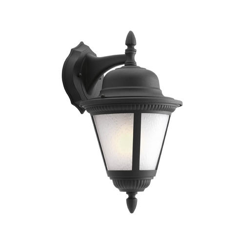 Progress Lighting Etched Seeded Glass Outdoor Wall Light Black Progress Lighting P5863-31WB