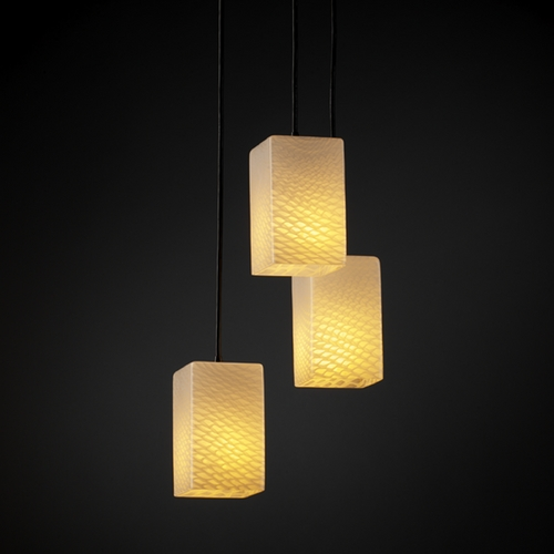 Justice Design Group Justice Design Group Fusion Collection Multi-Light Pendant FSN-8864-15-WEVE-MBLK