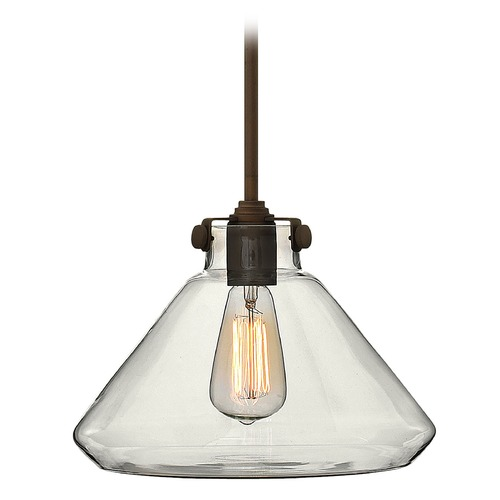 Hinkley Lighting Pendant Light with Clear Glass in Oil Rubbed Bronze Finish 3137OZ