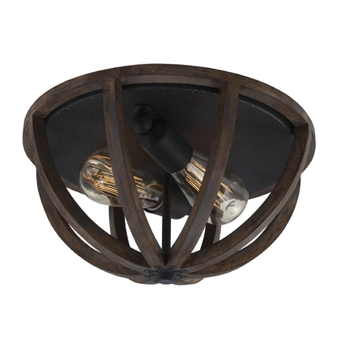Feiss Lighting Feiss Lighting Allier Weather Oak Wood / Antique Forged Iron Flushmount Light FM400WOW/AF