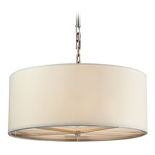 Elk Lighting Elk Lighting Selma Polished Nickel Pendant Light with Drum Shade 31651/3