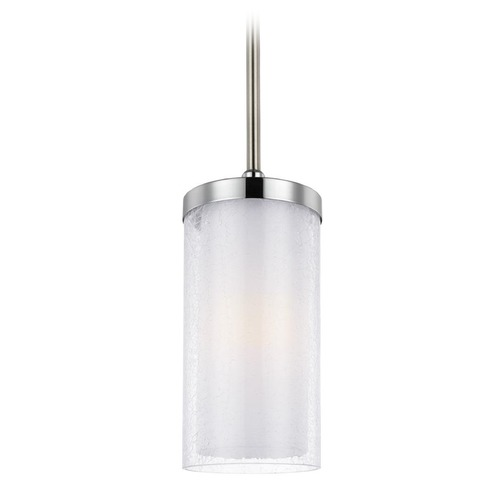 Feiss Lighting Feiss Lighting Jonah Satin Nickel / Chrome Mini-Pendant Light with Cylindrical Shade P1334SN/CH