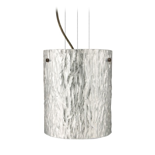 Besa Lighting Besa Lighting Tamburo Bronze Mini-Pendant Light with Cylindrical Shade 1KG-4006SS-BR