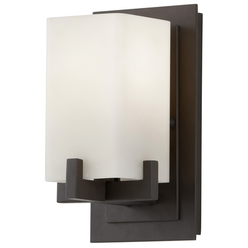 Feiss Lighting Modern Sconce with Beige / Cream Glass in Oil Rubbed Bronze Finish VS18401-ORB