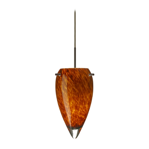 Besa Lighting Modern Pendant Light with Amber Glass in Bronze Finish 1JT-412518-BR