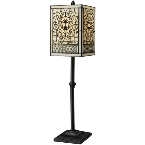 Elk Lighting Table Lamp with Beige / Cream Glass in Tiffany Bronze Finish D1851