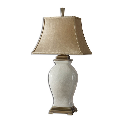 Uttermost Lighting Table Lamp with Beige / Cream Shade in Aged Ivory Finish 26737