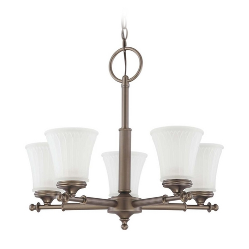 Nuvo Lighting Modern Chandelier with White Glass in Aged Pewter Finish 60/4015