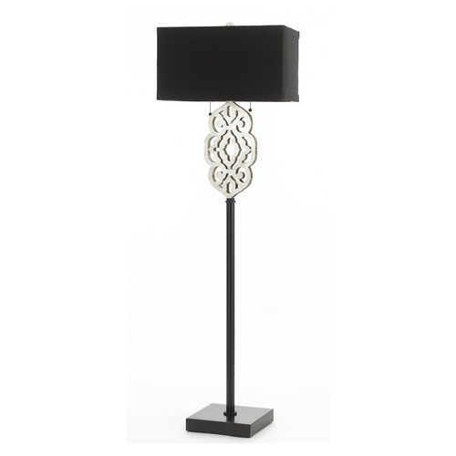 AF Lighting Floor Lamp with Black Shades in Silver Foil Finish 8423-FL