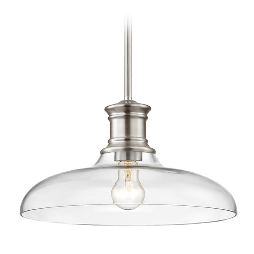 Design Classics Lighting Nautical Pendant Light Satin Nickel with Clear Glass 14-Inch Wide 1761-09 G1784-CL