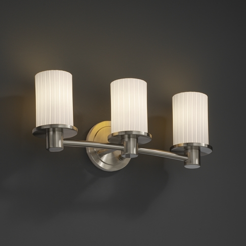 Justice Design Group Justice Design Group Fusion Collection Bathroom Light FSN-8513-10-RBON-NCKL