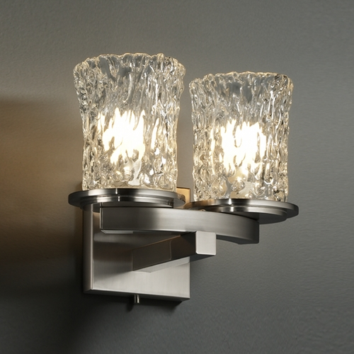 Justice Design Group Justice Design Group Veneto Luce Collection Bathroom Light GLA-8775-16-CLRT-NCKL