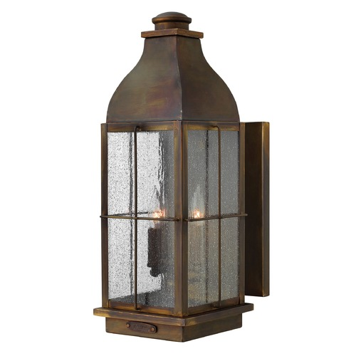 Hinkley Lighting Industrial Seeded Glass Outdoor Wall Light Bronze Hinkley Lighting 2045SN