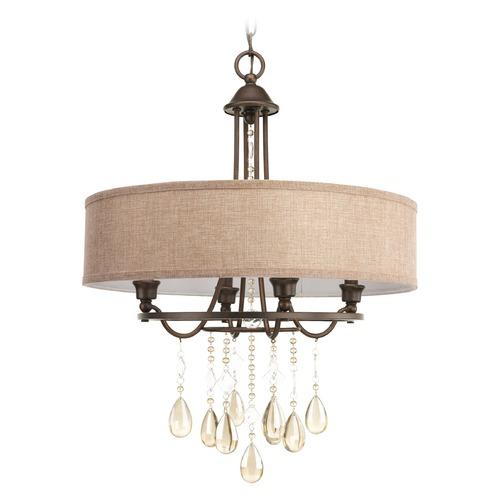 Progress Lighting Progress Lighting Flourish Cognac Pendant Light with Drum Shade P5151-72