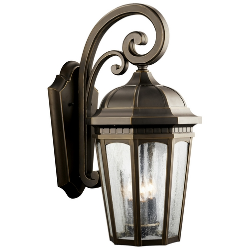 Kichler Lighting Kichler Outdoor Wall Light with Clear Glass in Rubbed Bronze Finish 9034RZ