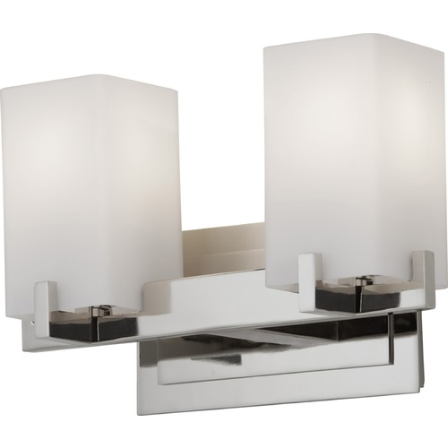 Feiss Lighting Modern Bathroom Light with White Glass in Polished Nickel Finish VS18402-PN
