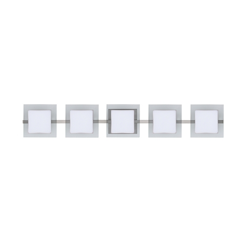 Besa Lighting Modern Bathroom Light White Glass satin Nickel by Besa Lighting 5WS-773539-SN