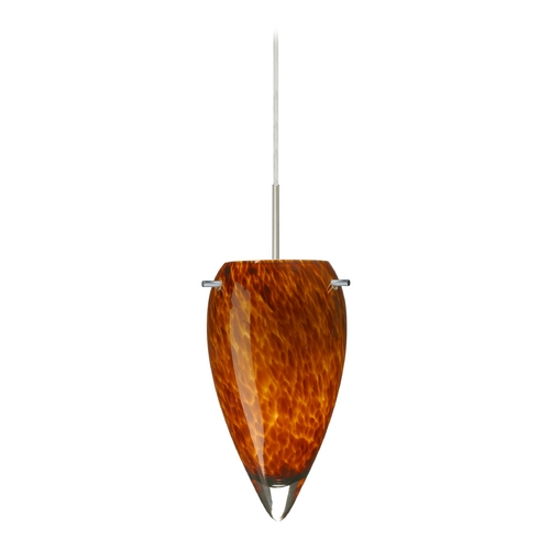 Besa Lighting Modern Pendant Light with Amber Glass in Satin Nickel Finish 1JT-412518-SN