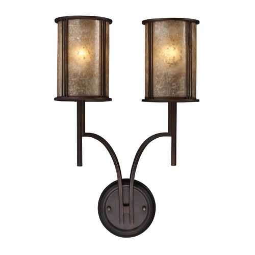 Elk Lighting Sconce Wall Light with Brown Mica Shades in Aged Bronze Finish 15030/2
