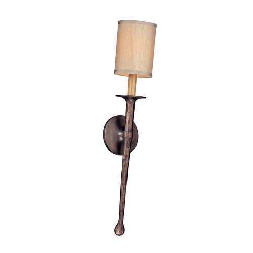 Troy Lighting Sconce Wall Light with Beige / Cream Shade in Pompeii Bronze Finish B2901