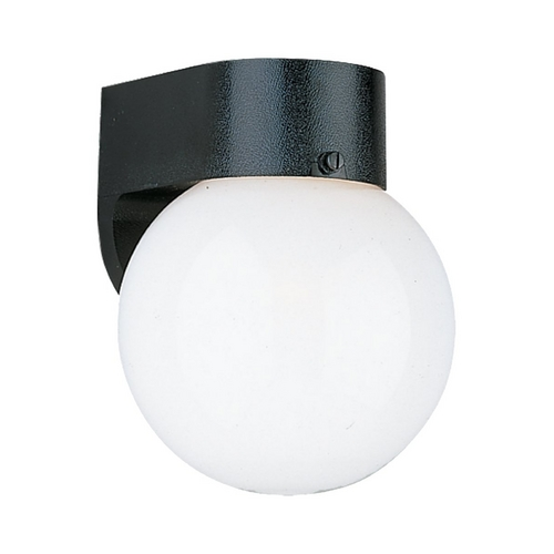 Sea Gull Lighting Modern Outdoor Wall Light with White Glass in Black Finish 8955BLE-12
