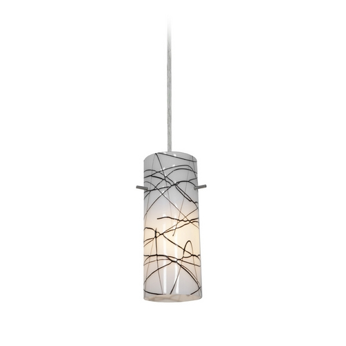 Access Lighting Modern Mini-Pendant Light with White Glass 28030-1C-BS/BLWH