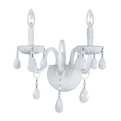 Crystorama Lighting Crystal Sconce Wall Light in Wet White Finish 1072-WW-WH-MWP