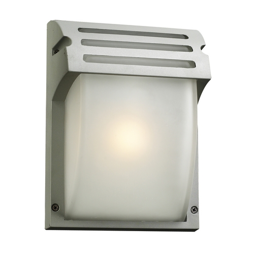 PLC Lighting Modern Outdoor Wall Light with White Glass in Silver Finish 3607  SL