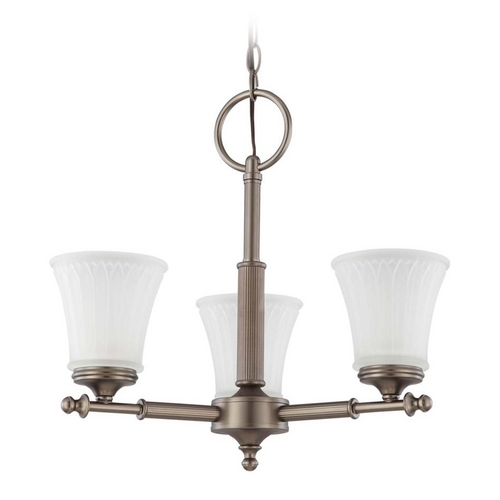 Nuvo Lighting Modern Mini-Chandelier with White Glass in Aged Pewter Finish 60/4016