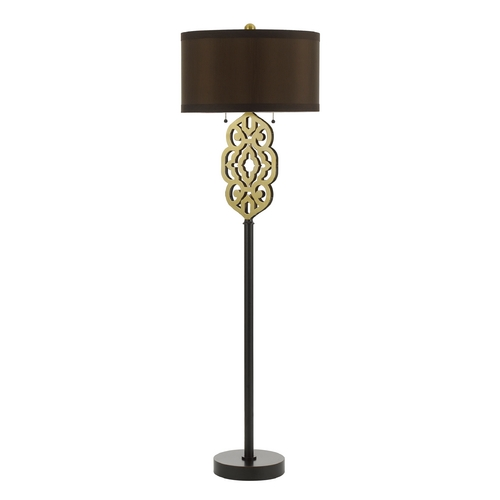 AF Lighting Floor Lamp with Black Shade in Oil Rubbed Bronze Finish 8424-FL